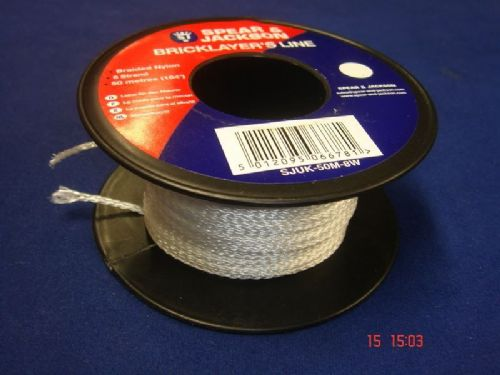 Spear & Jackson White Braided Nylon Bricklayers Line 50 Metre Spool UK50M8W